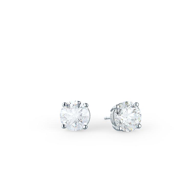 Classic Round Brilliant Lab Created Diamond Stud Earrings