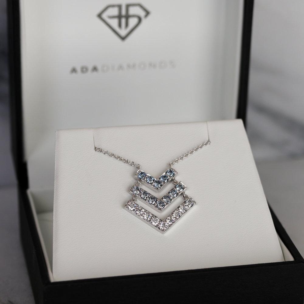 Custom blue three layer lab diamond v necklace white gold