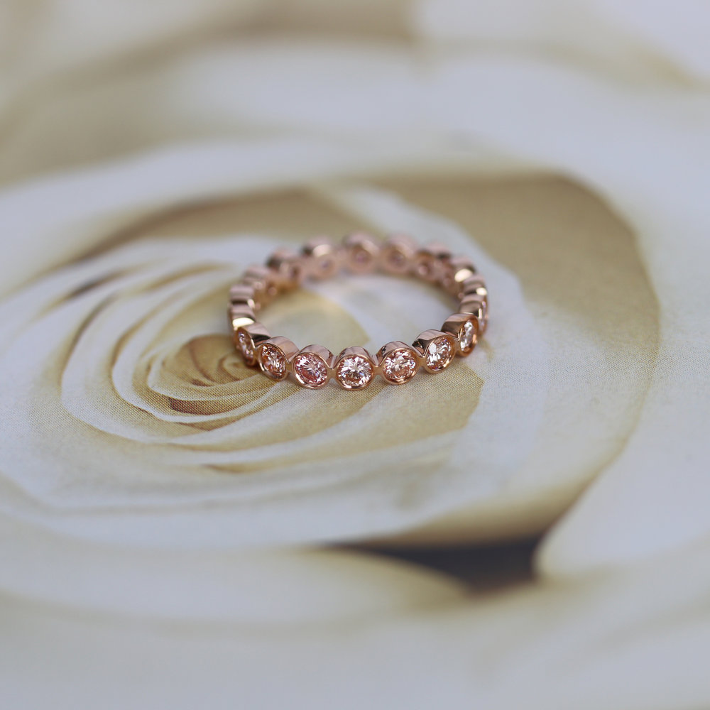 Bezel Set Pink Diamond Eternity Band in Rose Gold