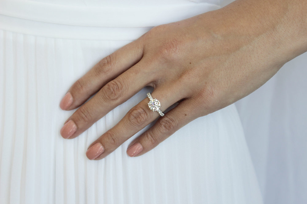 AD-134 Four Prong Pave Platinum lab diamond engagement ring.jpg