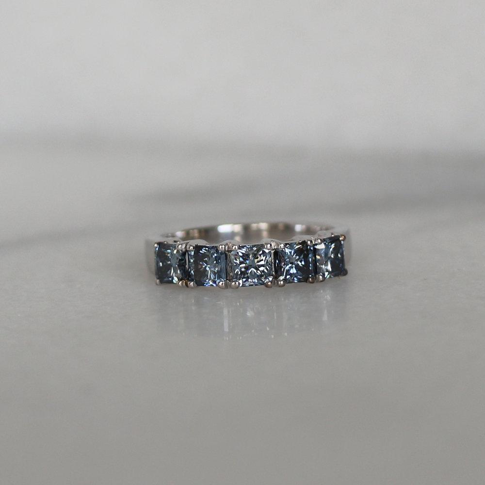 Ada Diamonds Basket Half Band Lab Grown Blue Diamonds
