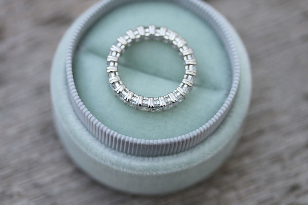 lab grown diamond eternity wedding band by Ada Diamonds