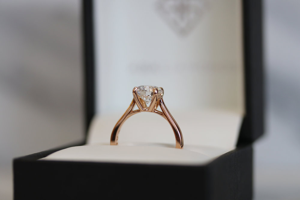 Lifted Open Cathedral Solitaire Lab Created Diamond Engagement Ring in Rose Gold