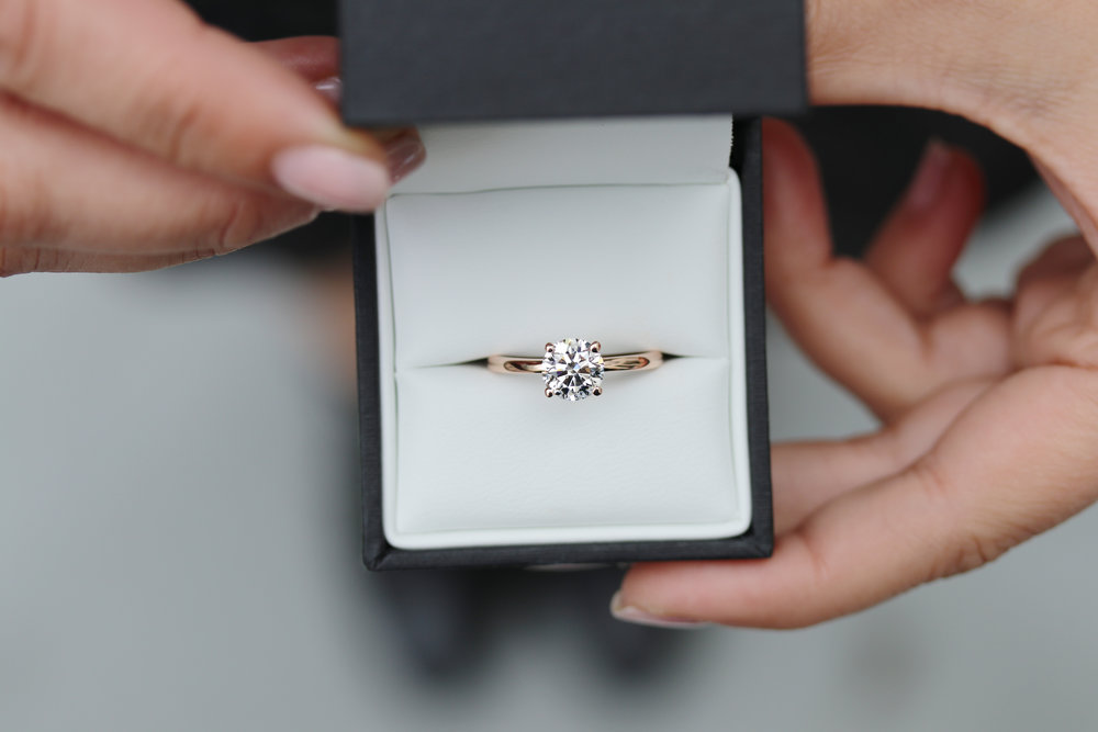 Four Prong Solitaire Lab Created Diamond Engagement Ring in Rose Gold Design-066