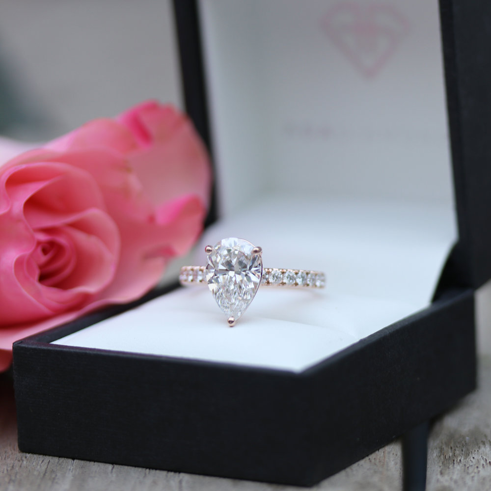 Four Prong Pave Lab Created Diamond Band Engagement Ring in Rose Gold
