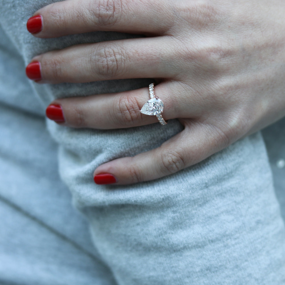 Four Prong Pave Lab Created Diamond Band Engagement Ring in Rose Gold on Model