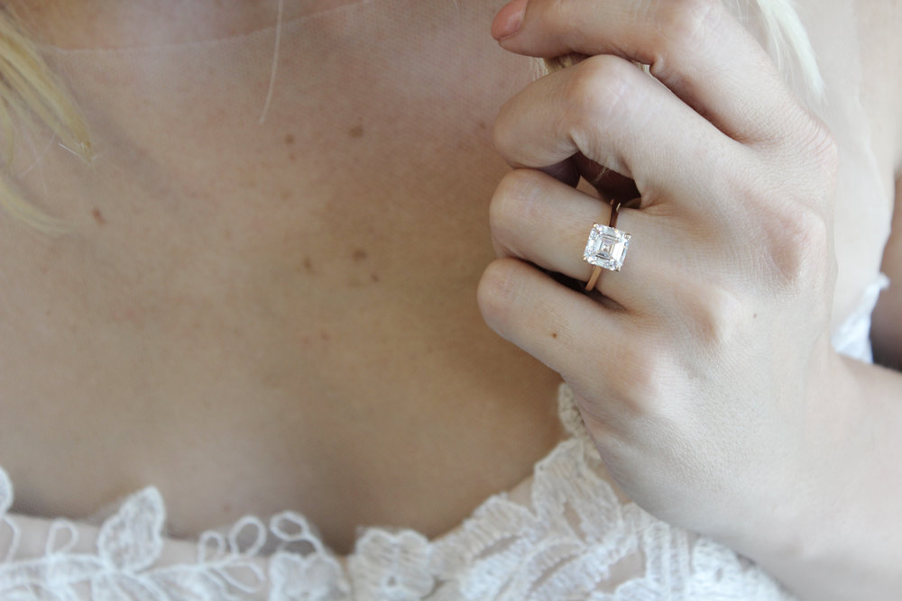 Asscher Cut Solitaire Lab Created Diamond Engagement Ring in Rose Gold on Model