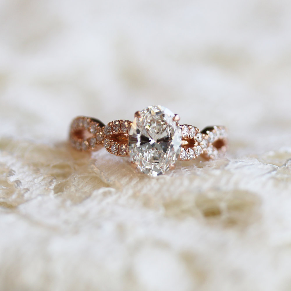 Oval Twist Open Pave Lab Created Diamond Band Engagement Ring in Rose Gold Design-155