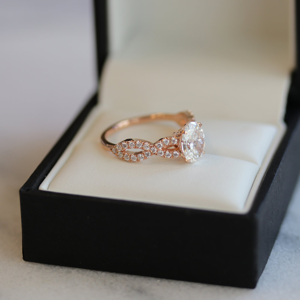 Oval Twist Open Pave Lab Created Diamond Band Engagement Ring in Rose Gold Profile