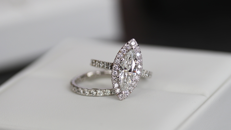 Lab Created Marquise Diamond Halo Engagement Ring with Pave Band and lab diamond eternity band