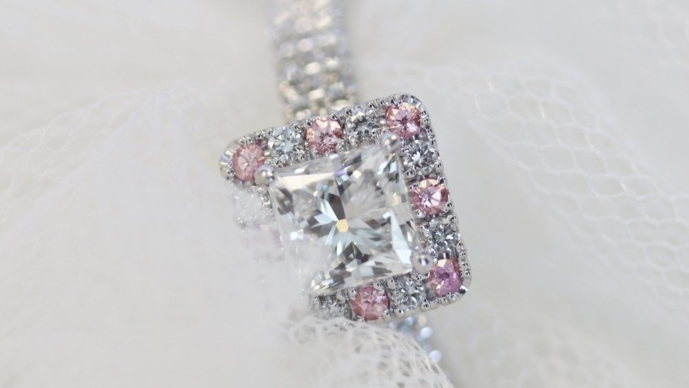 Lab Grown Princess Cut Diamond Double Band with Fancy Pink Halo Engagement Ring