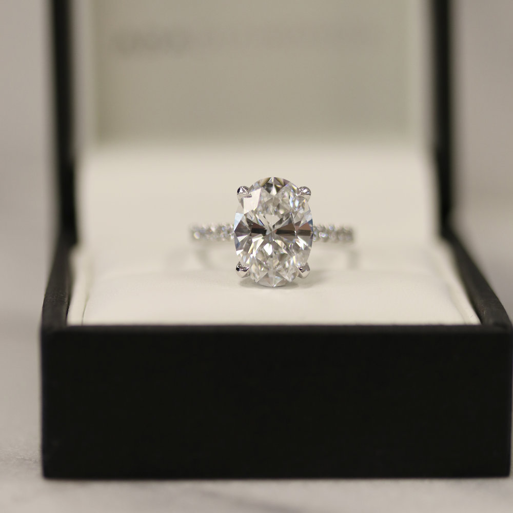 Cathedral Pave Oval Engagement Ring