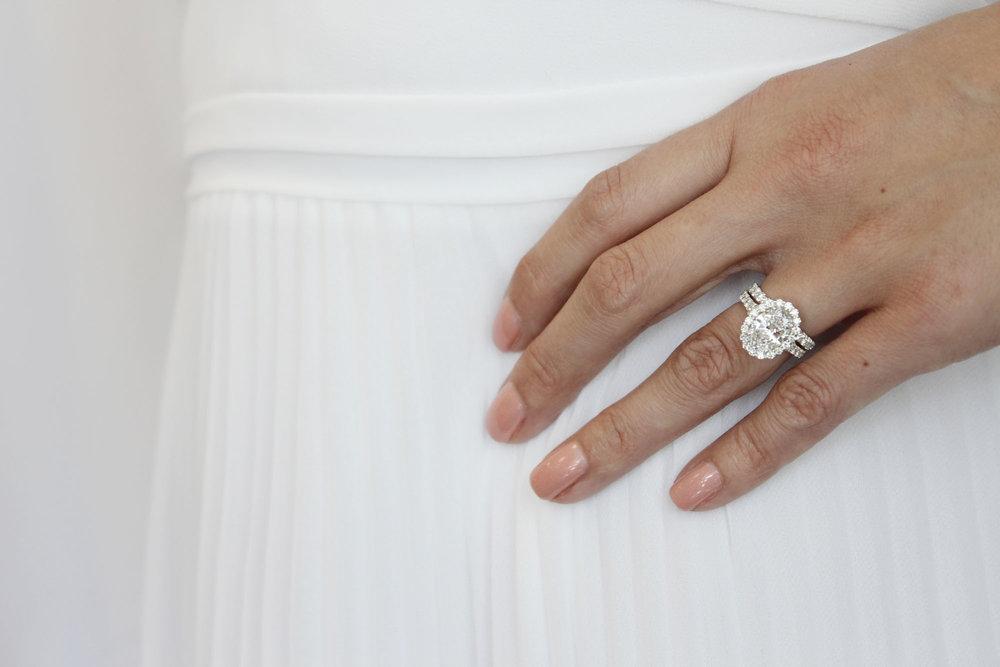 lab diamond oval split shank halo platinum ring with wedding band.jpg