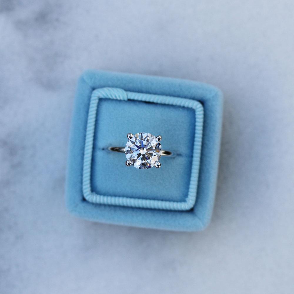 Custom lab diamond antique solitaire engagement ring in platinum