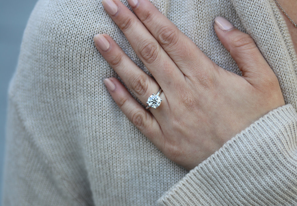 Round Brilliant Solitaire Engagement Ring on Model