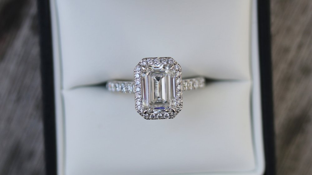 Custom Emerald Halo Pave Lab Created Diamond Engagement Ring
