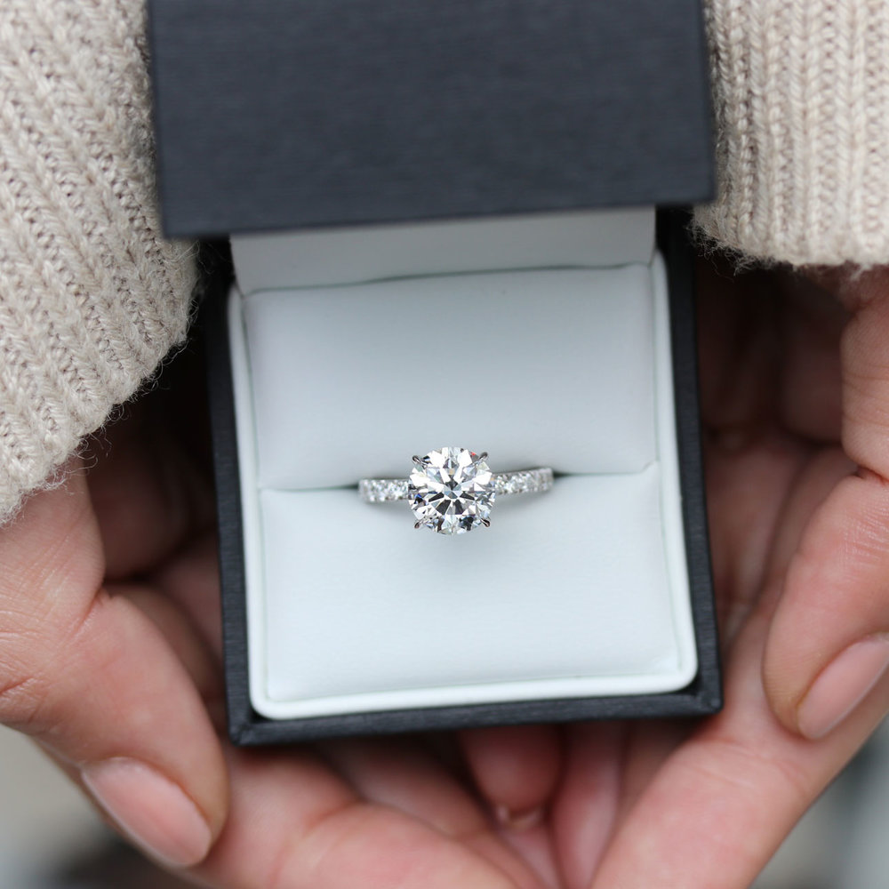 lab diamond engagement ring with diamonds down the band platinum.jpg