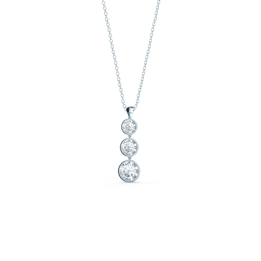 Three stone lab diamond drop necklace