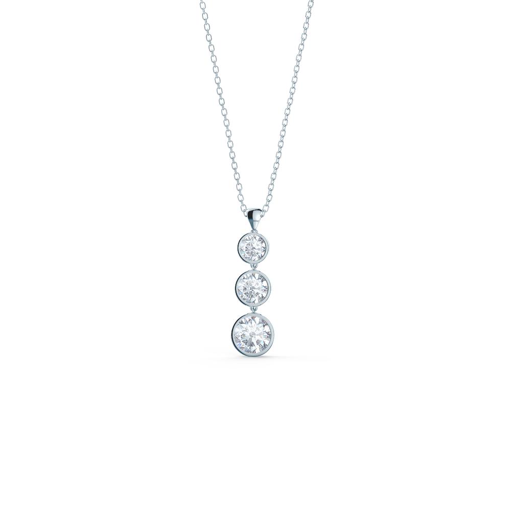 Three stone lab diamond drop necklace