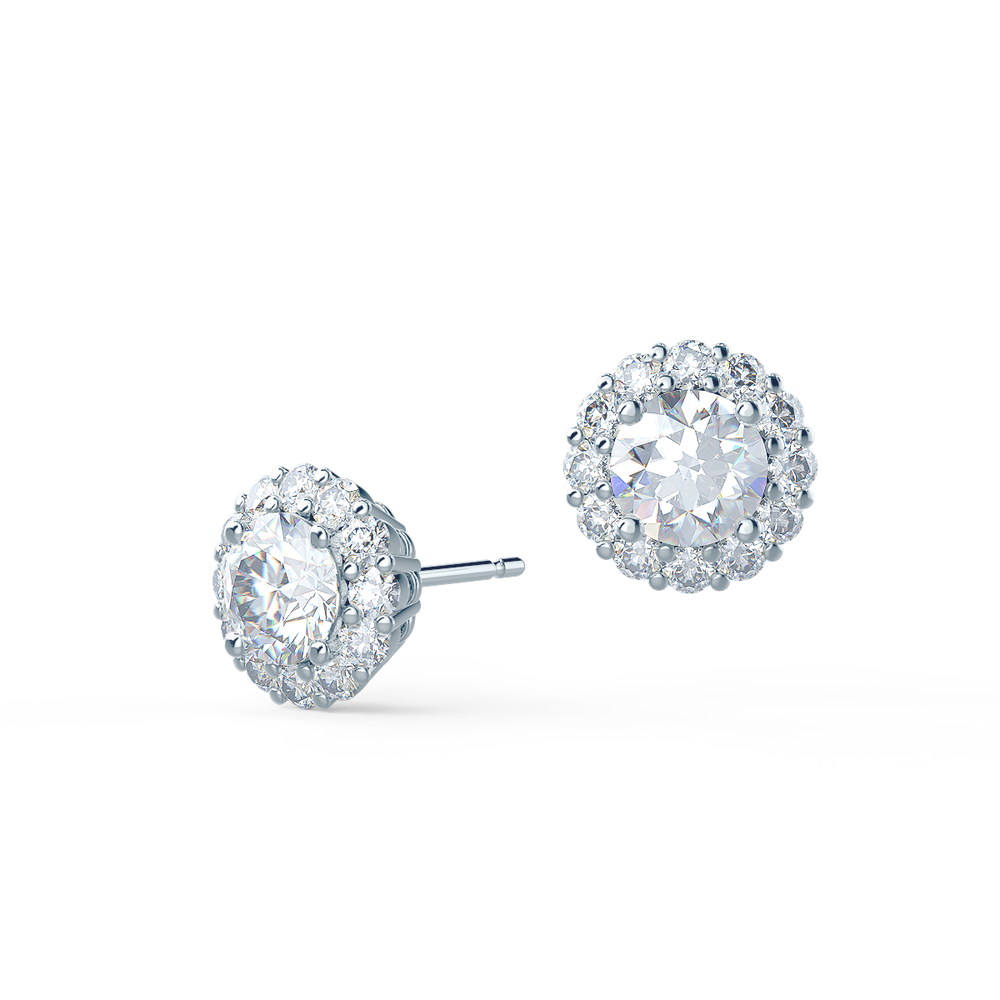 Lab grown diamond round brilliant earrings