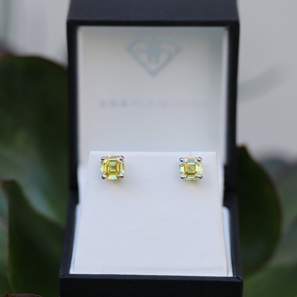 Fancy Yellow Radiant Cut Lab Diamond Stud Earrings
