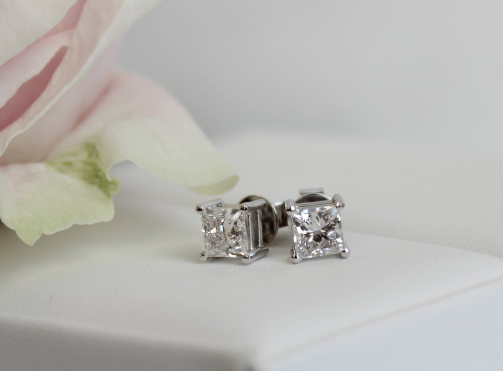Lab Grown Diamond Princess Cut Stud Earrings in Platinum AD-002