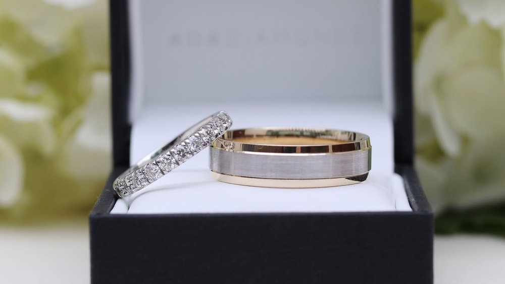 Custom His and Hers Lab Created Diamond Wedding Band Set