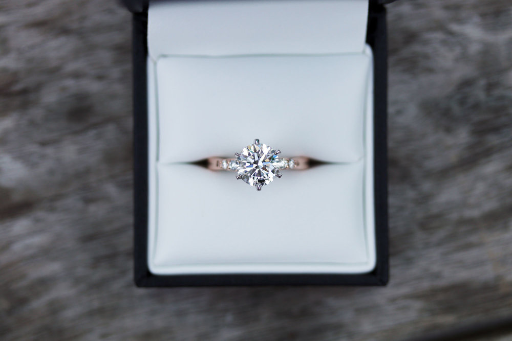 Six Prong Solitaire Lab Created Diamond Engagement Ring in Rose Gold