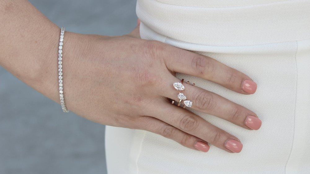Custom Pear and Marquise Three Stone Lab Created Diamond Fashion Ring