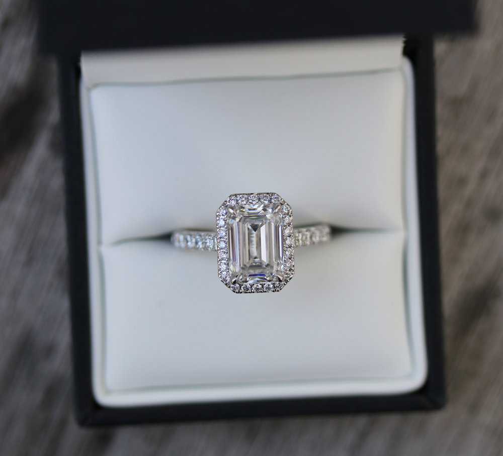 Emerald Halo Lab Created Diamond Pave Engagement Ring in Platinum