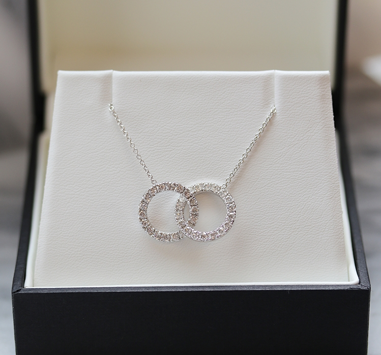 Open Interlocking Hoop Lab Created Diamond Necklace in Platinum