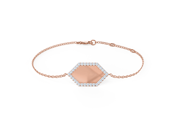 Geometric Lab Created Diamond Sixth Element Fashion Bracelet in Rose Gold