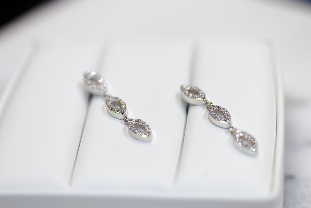 Marquise Three Drop Lab Created Diamond Earrings in White Gold