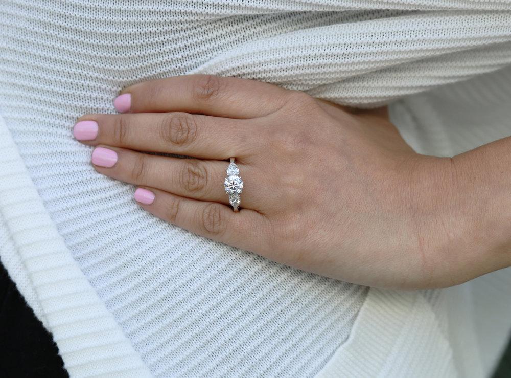 Three Stone Lab Created Diamond Engagement Ring on Model