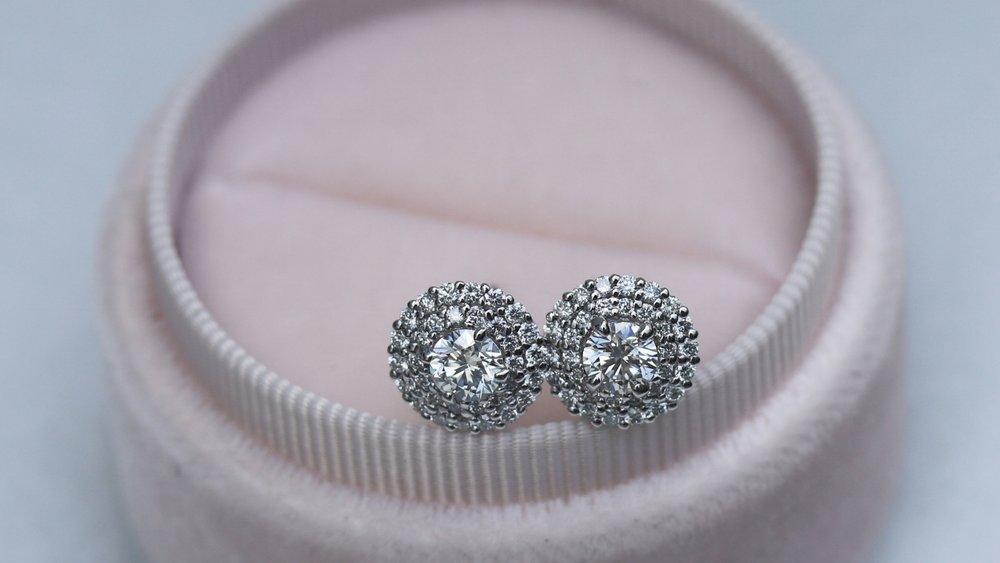 Lab grown double halo diamond stud earrings in white gold by Ada Diamonds AD-203