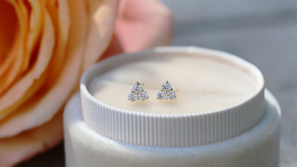 Three stone lab diamond stud earrings yellow gold Ada Diamonds