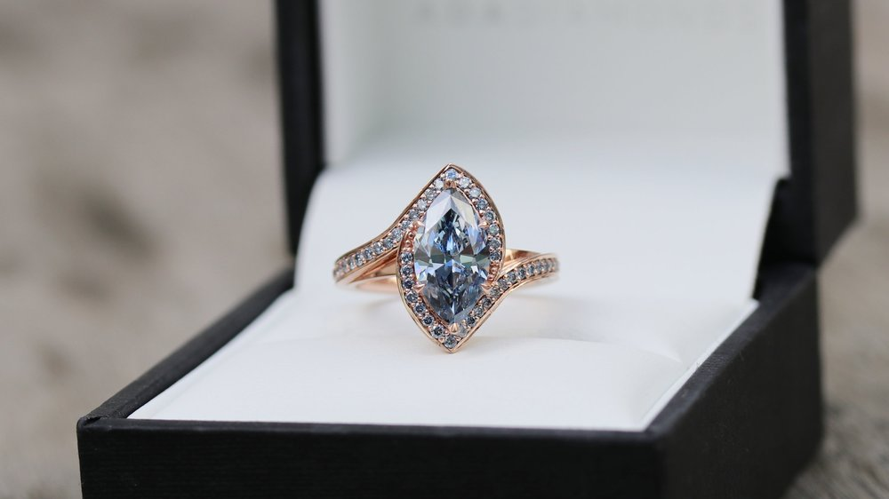 Custom lab grown fancy blue marquise diamond engagement ring in rose gold Ada Diamonds