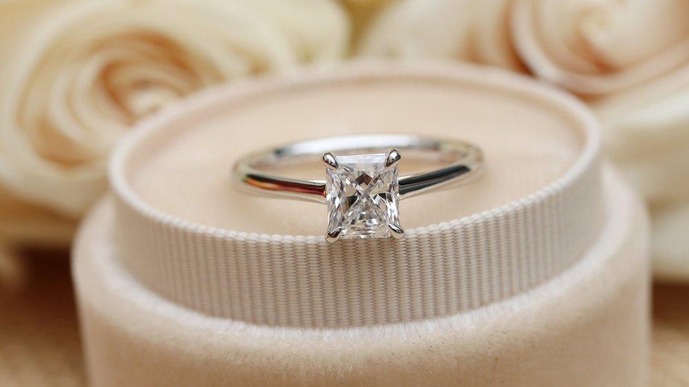 radiant cut lab grown diamond solitaire engagement ring ada diamonds