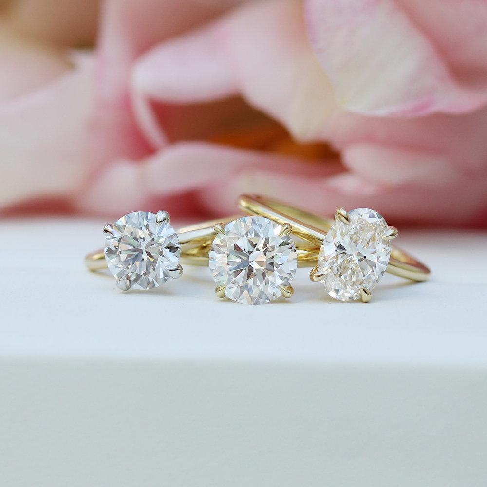 Lab created emerald cut diamond solitaire engagement ring yellow gold ada diamonds