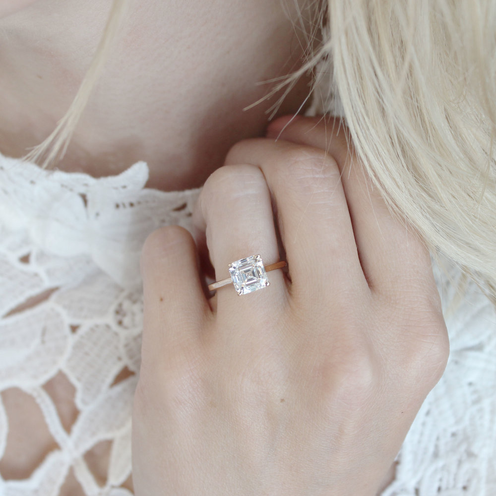 Asscher Cathedral Solitaire -