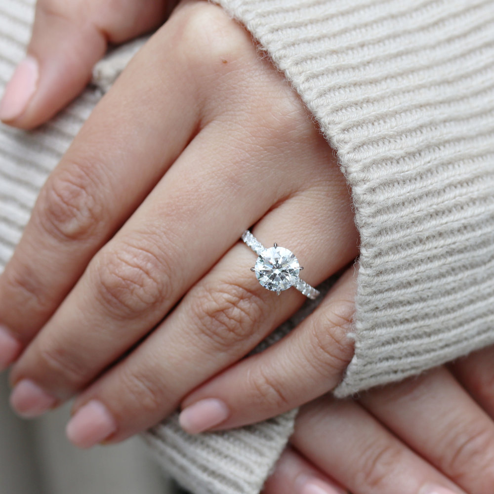 pear lab grown diamond engagement ring with diamonds down the band ada diamonds