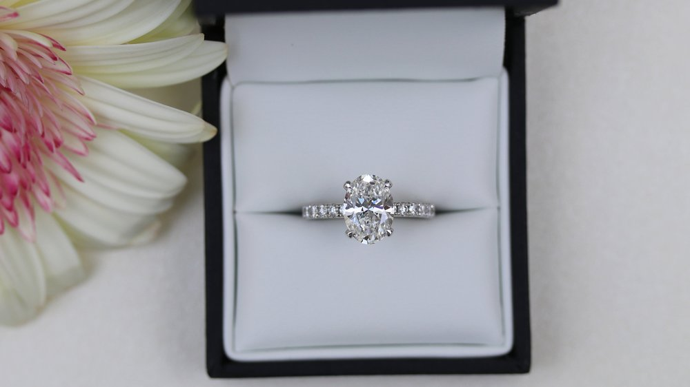 diamond band oval lab diamond engagement ring white gold ada diamonds