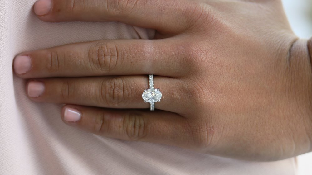 two carat oval cut lab diamond engagement ring ada diamonds