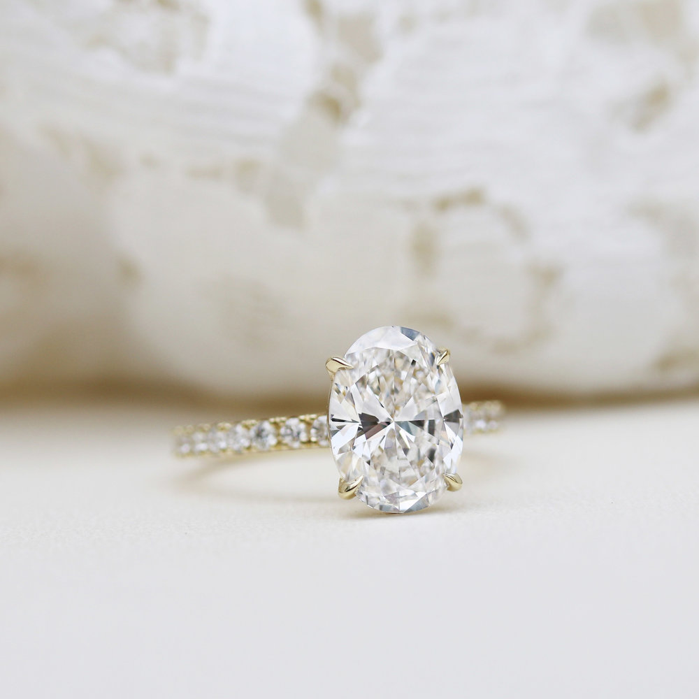 Open Cathedral Solitaire Lab Created Diamond Engagement Ring in Platinum