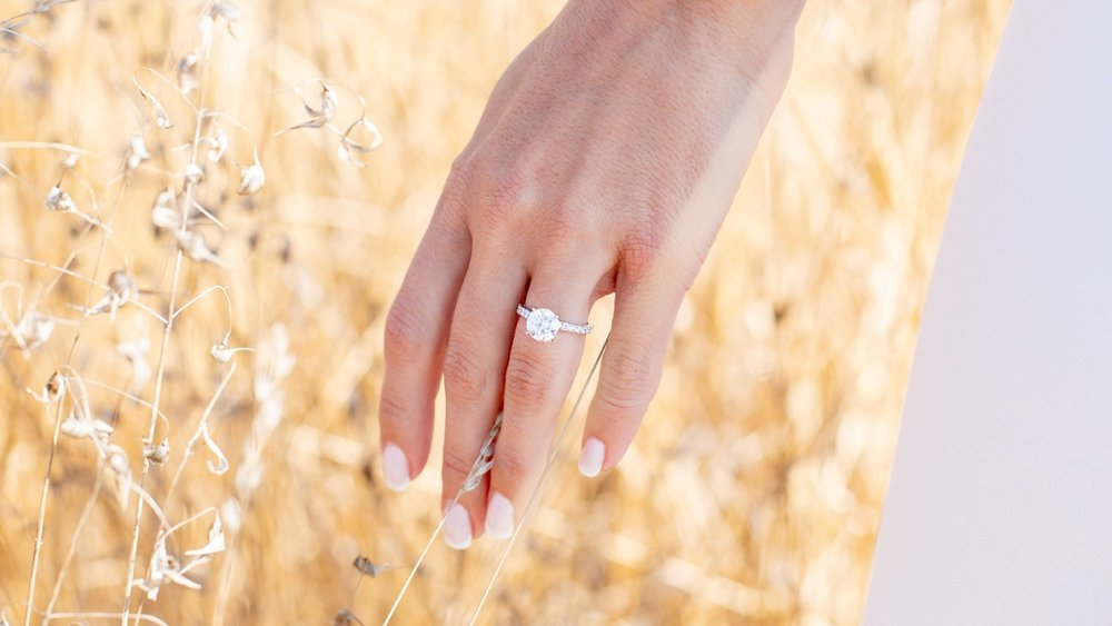 custom three stone lab diamond engagement ring with fancy blue lab diamond center stone