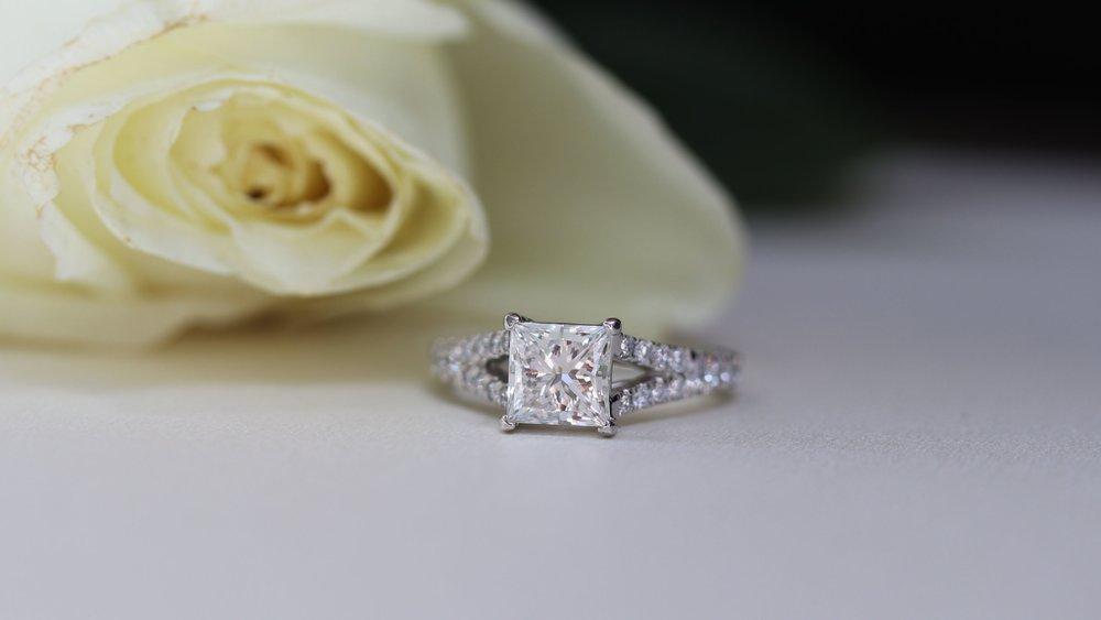custom emerald cut lab diamond and baguette diamond band engagement ring Ada Diamonds