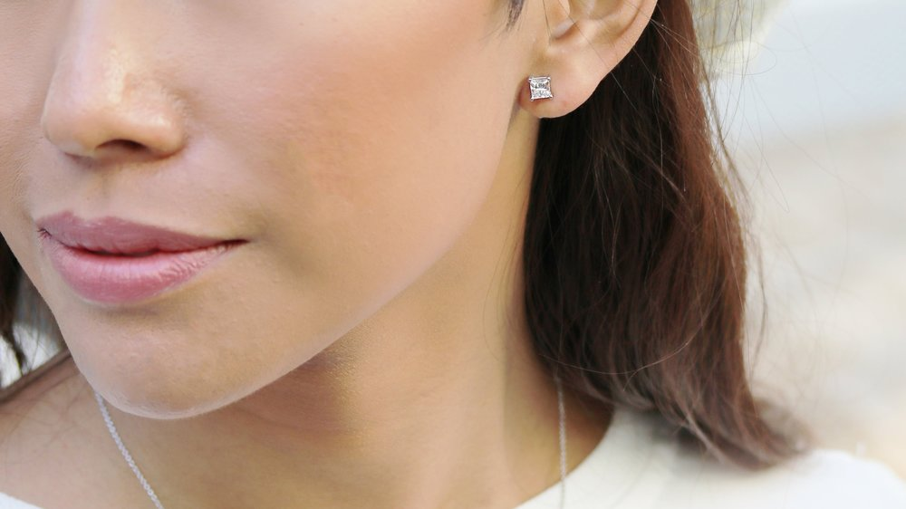emerald lab diamond halo stud earrings Ada Diamonds