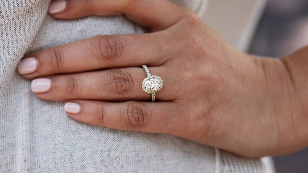 custom lab grown halo oval engagement ring