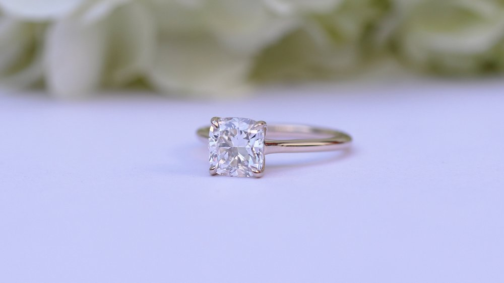 Cushion cut two carat lab diamond solitaire engagement ring ada diamonds