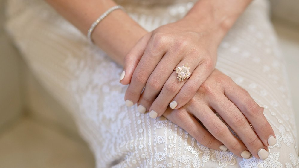 oval and baguette rose gold lab diamond engagement ring